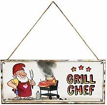 Land-Haus-Shop Metall Schild Grillchef Grill BBQ