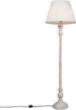 Land Stehlampe grau mit weißem Faltenschirm -