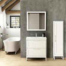 Landhaus Badezimmermöbel Set mit Hochschrank &