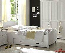 Landhaus Bett Einzelbett für Kinder und Jugendzimmer 61031 Kiefer teilmassiv weiß lackiert 100x200cm