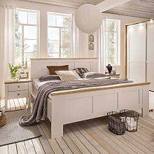Landhaus Doppelbett in Creme Weiß Eiche mit
