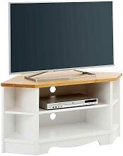 Landhaus Eckschrank für Fernseher Weiß und