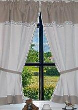 Landhaus Gardinen Set 100% Leinen/Baumwolle 2 St +