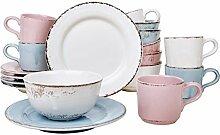 Landhaus Geschirr Set 18-teilig Frühstück Service Tasse Müslischale Teller Kombi Shabby Chic (Bunt)