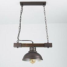 Landhaus Hängeleuchte Holz Metall Braun E27