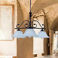 Landhaus Hängeleuchte mit Alabasterglas E27