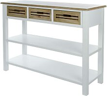 Landhaus Konsolentisch mit 3 Schubladen Weiß