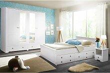 Landhaus Schlafzimmer Set in Weiß Kiefer massiv