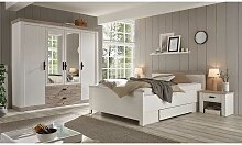 Landhaus Schlafzimmer Set mit 140x200 cm Bett