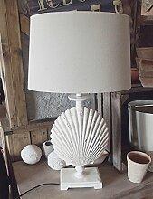 LANDHAUS SHABBY LAMPE TISCHLAMPE MARITIM MUSCHEL TISCHLEUCHTE 70cm HOCH NEU WO-956