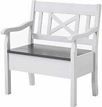 Landhaus Sitzbank mit Stauraum Weiß Grau Kiefer