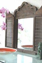 Landhaus Spiegel, Wandspiegel im Shabby Chic, Holz, Antik Look,mit Fensterläden