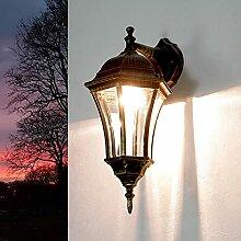 Landhaus Wandlampe Vintage Metall Gold Glas E27