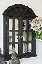 Landhaus Wandspiegel Spiegel Fensterläden Shabby French Chic schwarz Gothic antik