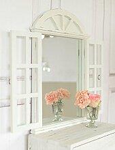Landhaus Wandspiegel Spiegel mit Fensterläden in Shabby Chic weiß antique