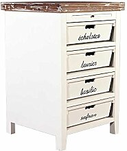 Landhausmöbel - Küchenregal - Landhaus Regal - Dijon - Holz 4 Schubladen beschriftet Vintage Look creme weiß