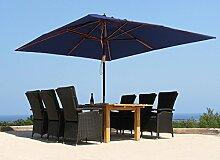 Landhausschirm Sonnenschirm 3x4m Polyester Blau