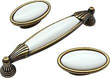 Landhausstil Möbelgriff VENEZIA mit Porzellan-Inlay weiß Florence 25 x 26 x 146 - Stilmelange Qualität aus Europa seit 1998