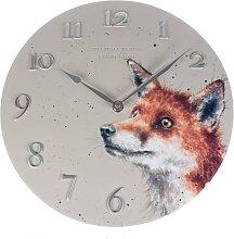 Landhausstil Wanduhr FOX FUCHS rund D. 30cm grau silber Wrendale Design (49,95 EUR / Stück)