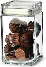 Landmark Vorratsdose / Vorratsbehälter, Glas, mit Deckel, quadratisch, 1,5l, 6 Stück