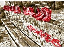 Landscapes Shoes Fotodruck in Rot East Urban Home