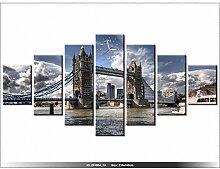 LANDSCHAFT - LONDON Leinwandbild mit Wanduhr - Moderne Dekoration - Holzrahmen - Brücke auf dem Fluss Thames