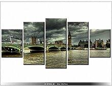 LANDSCHAFT - LONDON Leinwandbild mit Wanduhr - Moderne Dekoration - Holzrahmen - Big Ben auf Abstand