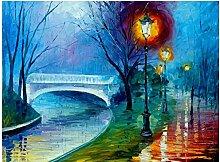 Landschaft Ölgemälde River Bridge Street Lampe