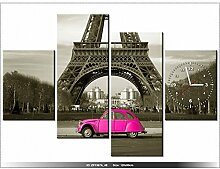 LANDSCHAFT - PARIS Leinwandbild mit Wanduhr - Moderne Dekoration - Holzrahmen - Auto vor dem Eiffelturm