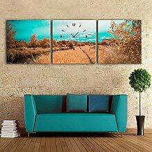 Landschaft Wanduhr Rahmenlos Dekoration Herbstlandschaft Leinwand gemalt Wanduhr , 50*50cm