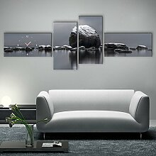 Landschaft Wanduhr Rahmenlose Dekoration rot-Ahorn Seaside Rocklandschaft Leinwand gemalt Wanduhr , 30*60cm
