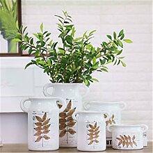 Landschaft weißer Keramik Vase Blume binaurale Tank, einer für Mittelstücke Weihnachten Geburtstag Hochzeit Party Geschenk Desktop Home Decor