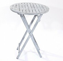 Landwood Furniture Original LANDWOOD® Teakholz-Stehtisch FIN, Ø 80 cm, Grau