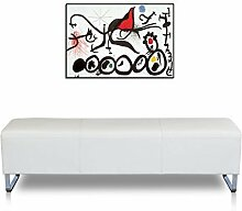 Lange Bauhaus Lederbank Sitzbank Echt Leder Fuss Edelstahl. Abbildung (Echt) Leder Weiß