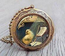 Lange Halskette mit Klangvogel-Medaillon aus Glas,