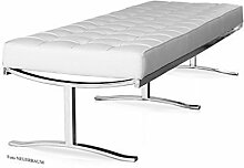 Lange schicke Bauhaus Lederbank Sitzbank Echtleder Fuß Edelstahl poliert (Länge 160 cm). Abbildung in Leder Weiß (Echtleder)