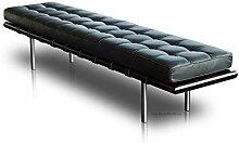 Lange schmale Bauhaus Leder Sitzbank. Vollleder und Massivholz = Qualität. Abbildung Holz Rahmen und Leder Schwarz (Länge 198 cm).