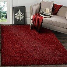 Langflor 5cm Shaggy Teppich Hochflor Teppiche, Rot 160x230 cm Viele Größen und Farben vorhanden, Ideal für Wohnzimmer, Esszimmer und Schlafzimmer