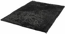 Langflor Teppich schwarz ca. 60 x 110 cm