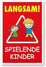 Langsam Spielende Kinder (rot, 20 x 30cm), Hinweisschild, Warnzeichen, Warnschild - Verkehrsschild langsam fahren, Warnung, Hinweis Spielstraße und Spielplatz - Vorsicht spielende Kinder