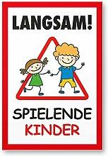 Langsam Spielende Kinder (weiß-rot, 20 x 30cm), Hinweisschild, Warnzeichen, Warnschild - Verkehrsschild langsam fahren, Warnung, Hinweis Spielstraße und Spielplatz - Vorsicht spielende Kinder