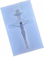 Lankater 1pc Silikon-Form, Kreuz Jesus DIY