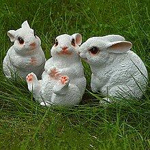 Lanlan 1Set von 3Kunstharz Liebenswürdig, weiß Kaninchen Figur Statue Miniatur Garten Outdoor Garten Home Zähler Dekoration