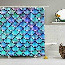 Lanlan 180x 180cm Fish Scales Dusche Vorhang Mehltau wasserdicht Polyester Badezimmer Vorhänge Dekoration mit 12Haken