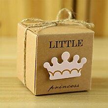 Lanlan 50neue europäische Stil Candy Box Little Prince/Princess Krone Kraft Boxen Girl Boy Geburtstag Decor Gastgeschenken
