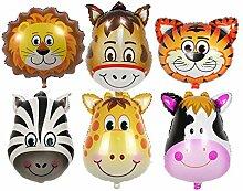 Lanlan 6Kinder Lovely Cartoon Tiere Head Ballon für Kinder spielen Aluminium Film Geburtstag Party Dekoration Luftballons