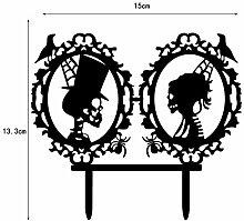 Lanlan Acryl Tortenaufsatz Skull Paare Dekoration für Halloween Party Engagement Jahrestag Kuchen schwarz, 15x 13,3x 0,2