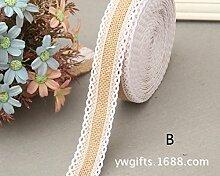 Lanlan Craft Ribbon für Heimwerker Crafts Home Hochzeit Party Dekoration 10m Vintage Jute burlaps mit weißer Spitze Rolle