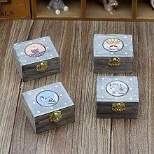 Lanlan Cute Mini Holz Musik Box Vintage Geschenk Dekoration (Muster zufällige), 15040Uhrwerk Rotary Musik Box