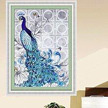 Lanlan DIY Blau Pfau Bilder Diamant Mosaik Naht 40* 50cm 5D Diamant Stickerei Kreuzstich Kits Leinwand Gemälde Home Dekoration